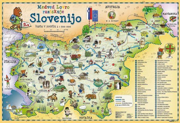 Otroska Stenska Karta Slovenije 100x70 Cm Pisi Brisi Plastifikacija